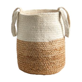 12.5 Handmade Natural Jute and Cotton Basket - SKU #0324-S1