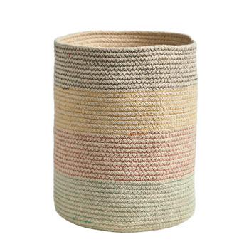 12 Handmade Natural Cotton Multicolored Woven Basket - SKU #0326-S1