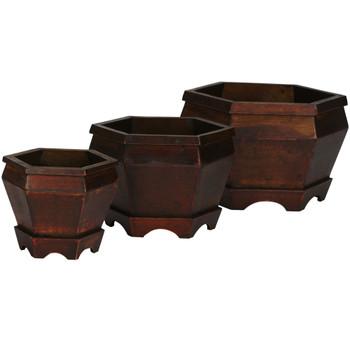 Wooden Hexagon Decorative Planter Set of 3 - SKU #0507