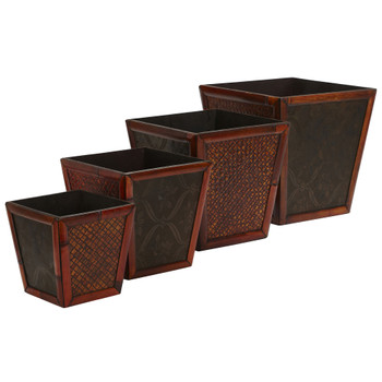 Bamboo Square Decorative Planters Set of 4 - SKU #0514