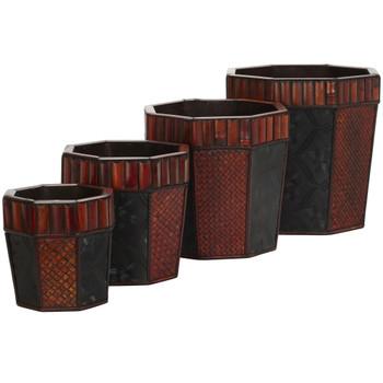 Bamboo Octagon Decorative Planters Set of 4 - SKU #0515