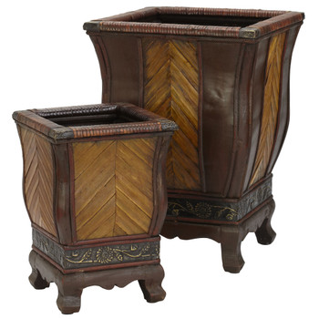 Decorative Wood Planters Set of 2 - SKU #0521