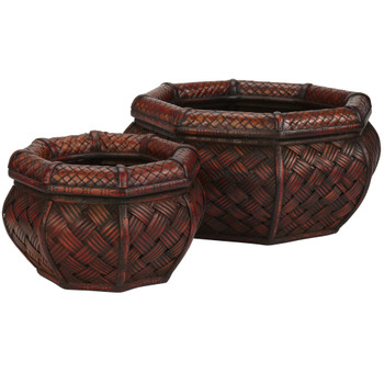 Rounded Ocatagon Decorative Planters Set of 2 - SKU #0522