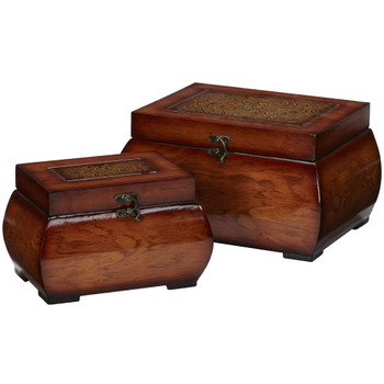 Decorative Lacquered Wood Chests Set of 2 - SKU #0527