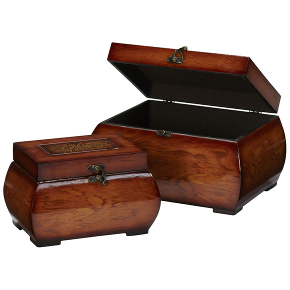 Decorative Lacquered Wood Chests Set of 2 - SKU #0527 - 1