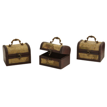 Decorative Chest w/Map Set of 3 - SKU #0545-S3