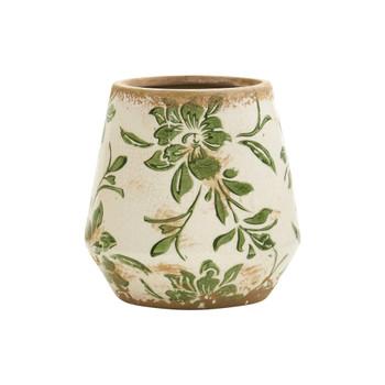 5.5 Tuscan Ceramic Green Scroll Planter - SKU #0714-SM-S1