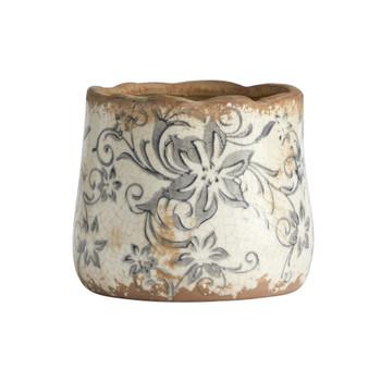 4.5 Tuscan Ceramic Gray Scroll Planter - SKU #0717-SM-S1
