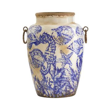 10.5 Nautical Ceramic Urn Vase - SKU #0723-S1