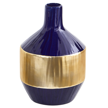 9 Lux Blue Ceramic Vase with Gold Band - SKU #0749-S1