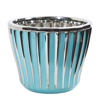 7.5 Turquoise Vase with Silver Trimming - SKU #0752-S1