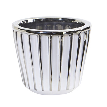 4.75 Ceramic White Vase with Silver Burnishing - SKU #0754-S1