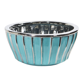 7.25 Teal Vase with Silver Burnishing - SKU #0755-S1