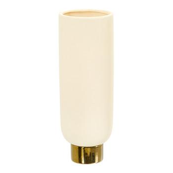 12.75 Elegance Ceramic Cylinder Vase with Gold Accents - SKU #0758-S1