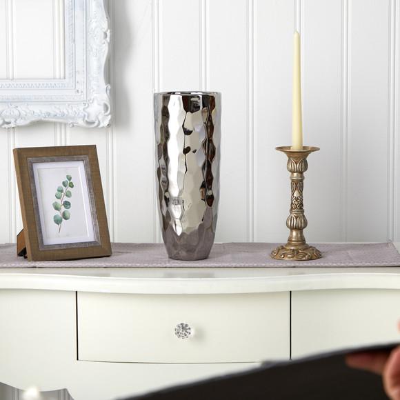 13 Designer Silver Cylinder Vase - SKU #0760-S1 - 2
