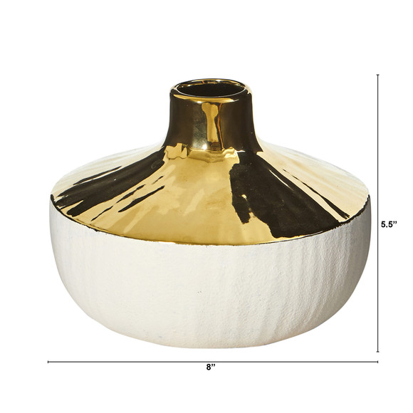 8 Elegance Ceramic Decorative Vase with Gold Accents - SKU #0766-S1 - 1