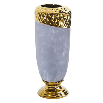 11.5 Regal Stone Vase with Gold Accents - SKU #0767-S1