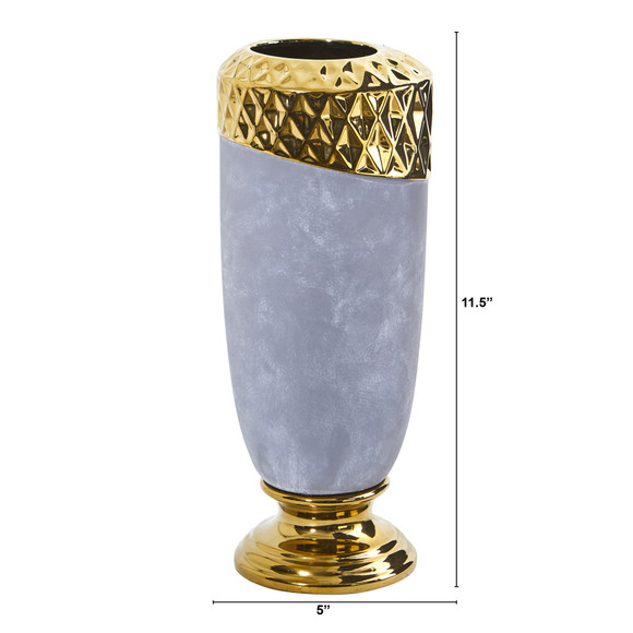 11.5 Regal Stone Vase with Gold Accents - SKU #0767-S1 - 1
