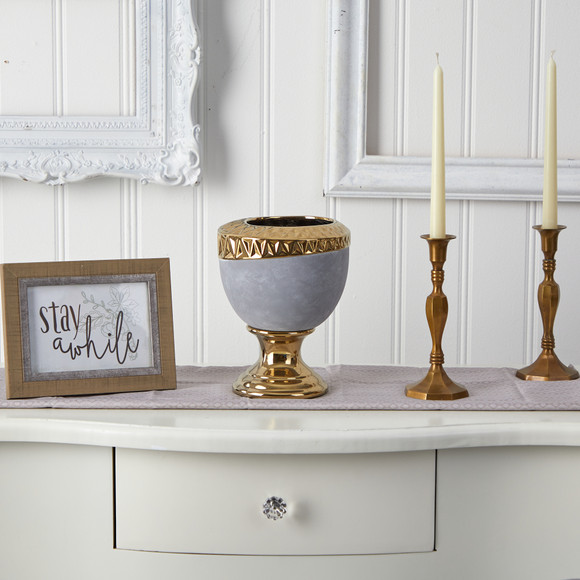 9.25 Regal Stone Urn with Gold Accents - SKU #0768-S1 - 2