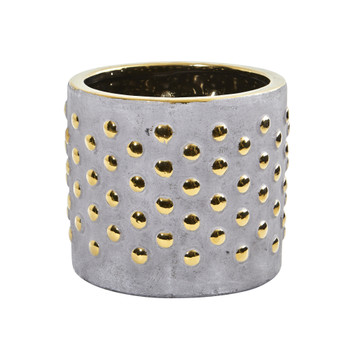 7 Regal Stone Hobnail Planter with Gold Accents - SKU #0769-S1