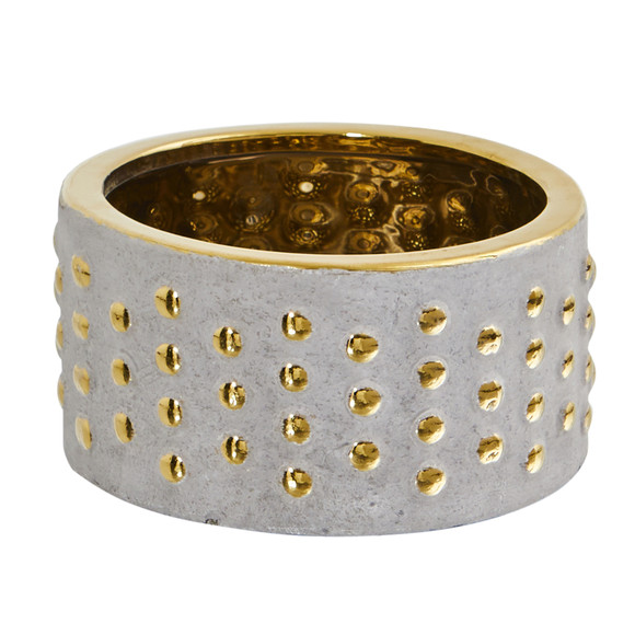 6.75 Regal Stone Hobnail Planter with Gold Accents - SKU #0770-S1