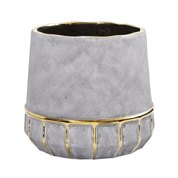 8.5 Regal Stone Decorative Planter with Gold Accents - SKU #0773-S1