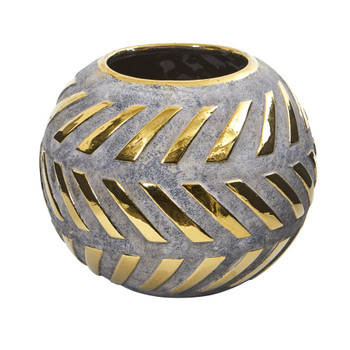 8 Regal Round Stone Vase with Gold Accents - SKU #0774-S1