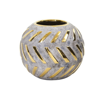 6 Regal Round Stone Vase with Gold Accents - SKU #0775-S1