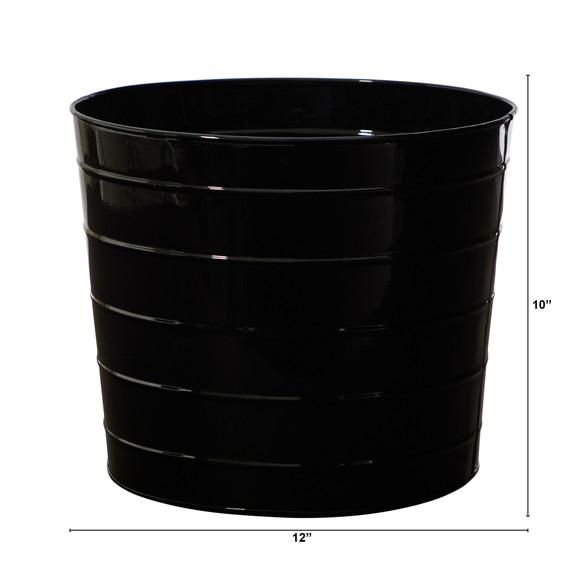 12 Farmhouse Black Metal Ribbed Planter - SKU #0817-S1 - 1