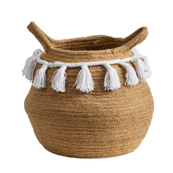 11 Boho Chic Handmade Natural Cotton Woven Basket with Tassels - SKU #0830-S1