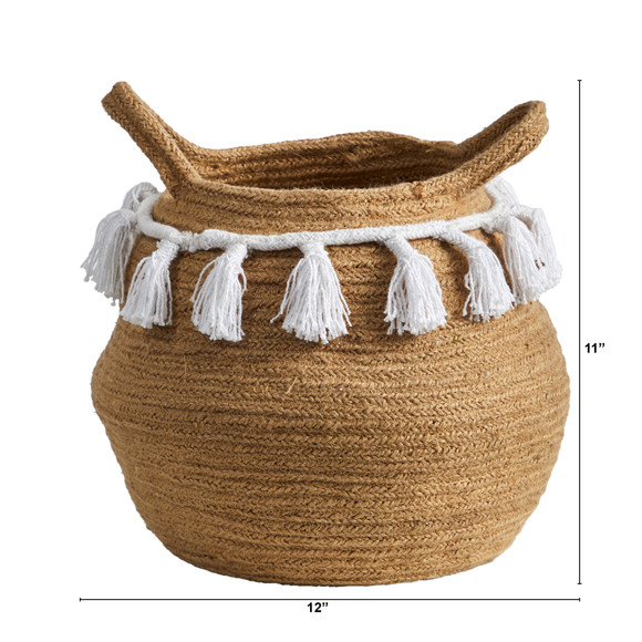 11 Boho Chic Handmade Natural Cotton Woven Basket with Tassels - SKU #0830-S1 - 1