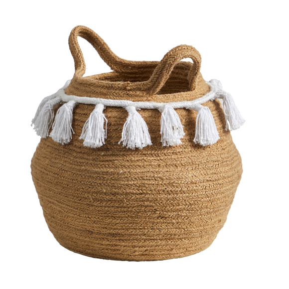 11 Boho Chic Handmade Natural Cotton Woven Basket with Tassels - SKU #0830-S1 - 2