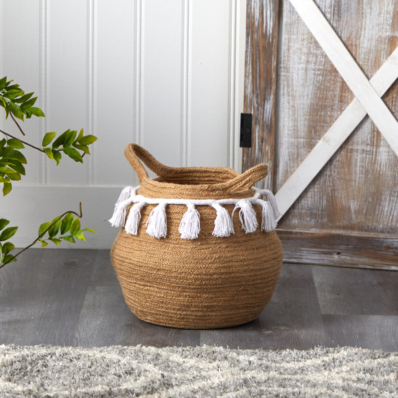 11 Boho Chic Handmade Natural Cotton Woven Basket with Tassels - SKU #0830-S1 - 3