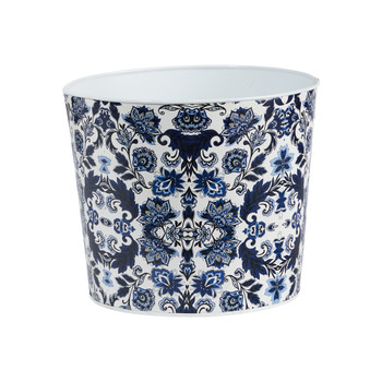 12 Oriental Blue and White Classic Round Metal Planter - SKU #0832-S1