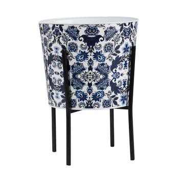 16 Orietnal Blue and White Classic Round Metal Planter with Stand - SKU #0877