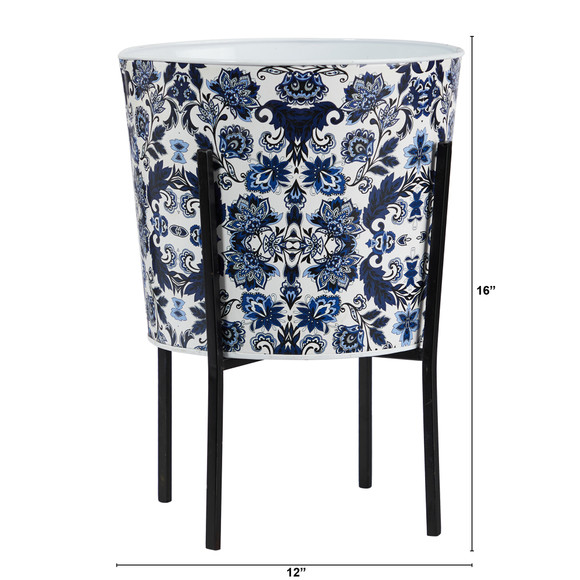 16 Orietnal Blue and White Classic Round Metal Planter with Stand - SKU #0877 - 1