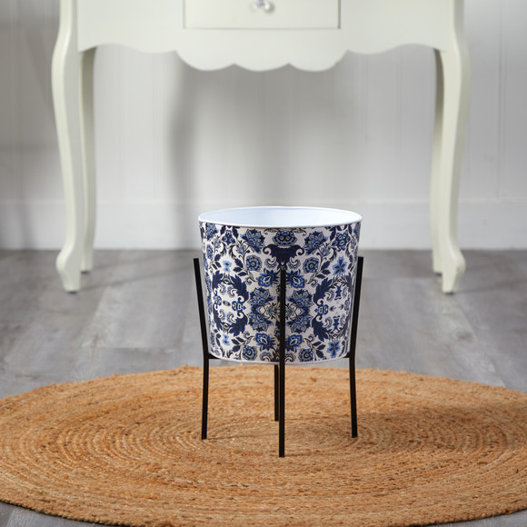 16 Orietnal Blue and White Classic Round Metal Planter with Stand - SKU #0877 - 2