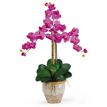 Triple Stem Phalaenopsis Silk Orchid Arrangement - SKU #1017
