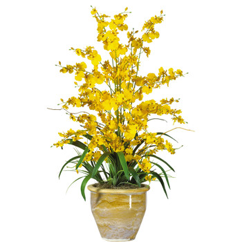 Triple Dancing Lady Silk Flower Arrangement - SKU #1070-YL