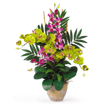 Double Phal/Dendrobium Silk Flower Arrangement - SKU #1071-OG