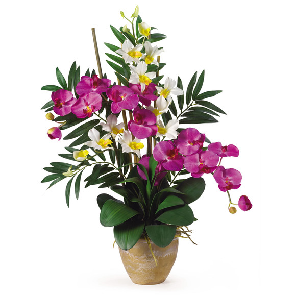 Double Phal/Dendrobium Silk Flower Arrangement - SKU #1071 - 7