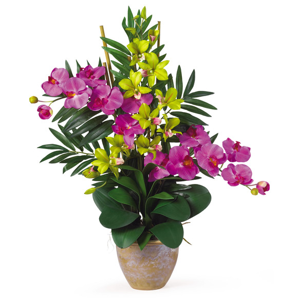 Double Phal/Dendrobium Silk Flower Arrangement - SKU #1071 - 4