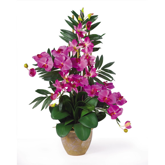 Double Phal/Dendrobium Silk Flower Arrangement - SKU #1071 - 3