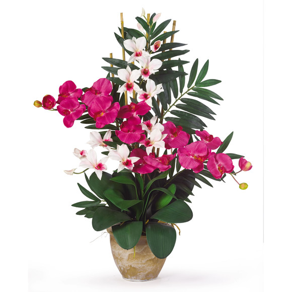 Double Phal/Dendrobium Silk Flower Arrangement - SKU #1071 - 1