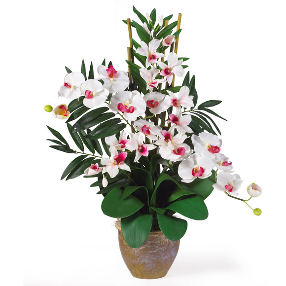 Double Phal/Dendrobium Silk Flower Arrangement - SKU #1071 - 2