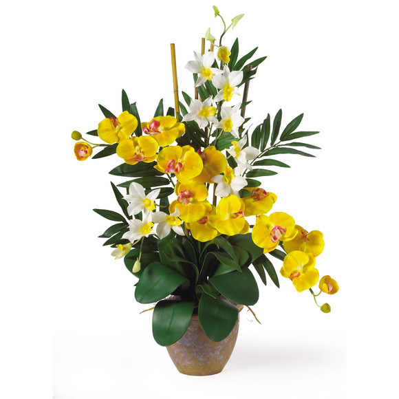 Double Phal/Dendrobium Silk Flower Arrangement - SKU #1071 - 5