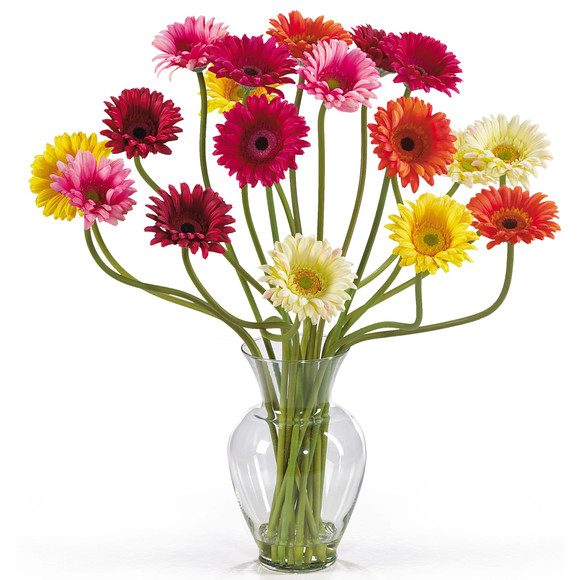Gerber Daisy Liquid Illusion Silk Flower Arrangement - SKU #1086 - 3