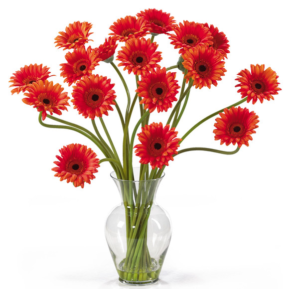 Gerber Daisy Liquid Illusion Silk Flower Arrangement - SKU #1086 - 6