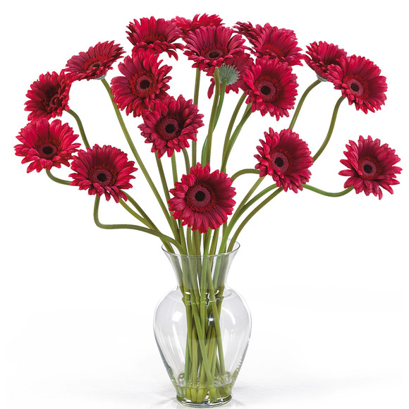 Gerber Daisy Liquid Illusion Silk Flower Arrangement - SKU #1086 - 1