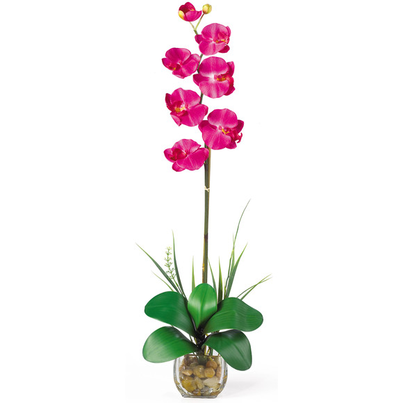 Single Phalaenopsis Liquid Illusion Silk Flower Arrangement - SKU #1104